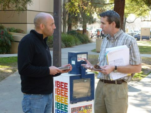 Leafleting at Fresno City College.